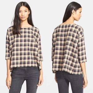 •THE GREAT.• The Boxy Plaid Cotton Blouse